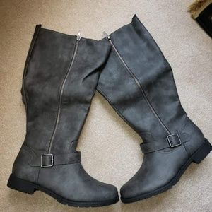 Shoes - Justfab gray riding boots